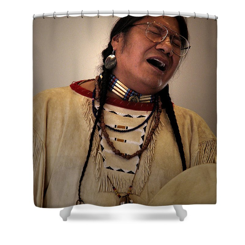 Native_american_music Shower Curtain featuring the photograph Native Cheyenne Chant by Nancy Griswold