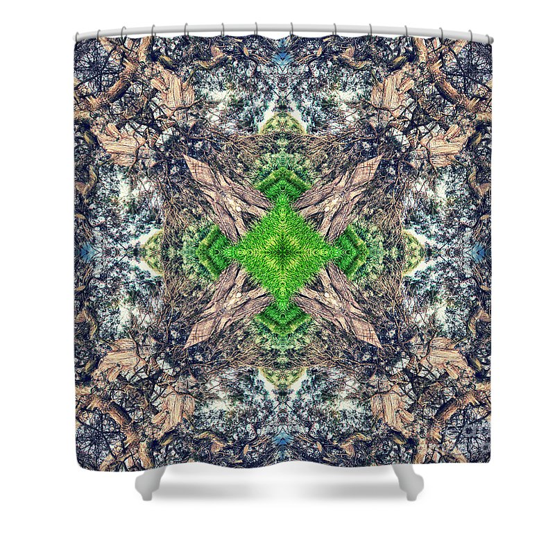Abstract Shower Curtain featuring the photograph Nature Mandala by Stelios Kleanthous