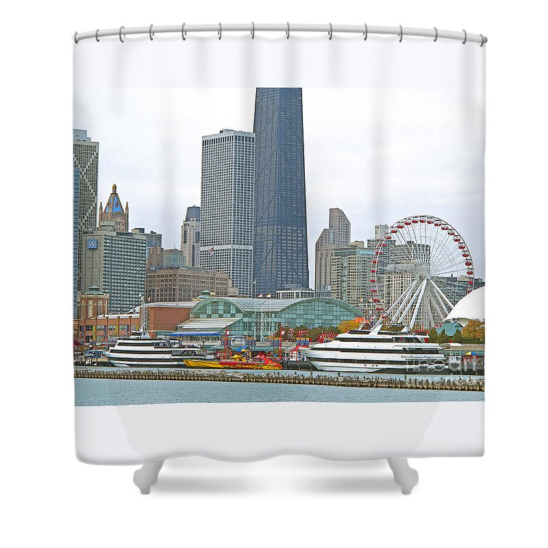 Chicagoland Shower Curtain featuring the photograph Navy Pier And Vicinity by Ann Horn