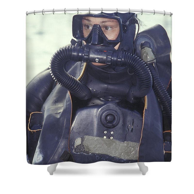 5bd5ae99dd0 Looking Away Shower Curtain featuring the photograph Navy Seal Combat  Swimmer Wearing by Michael Wood