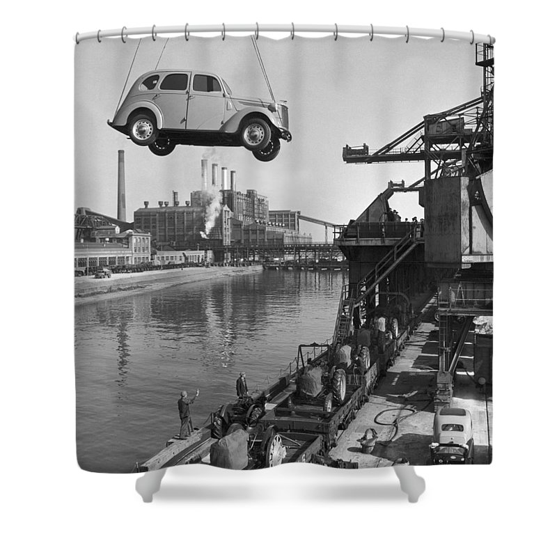 Europe Shower Curtain featuring the photograph Near London. The Ford Motor Plant by B. Anthony Stewart