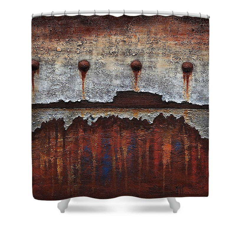 Art Shower Curtain featuring the mixed media Neglect 1 by Mauro Celotti