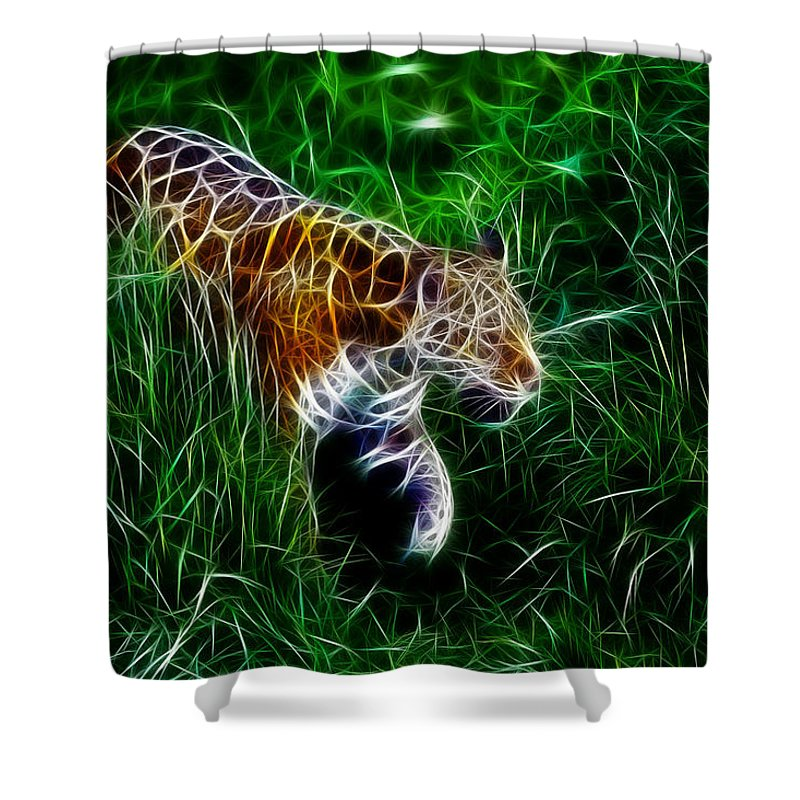 Tiger Shower Curtain featuring the digital art Neon Tiger by Steve K