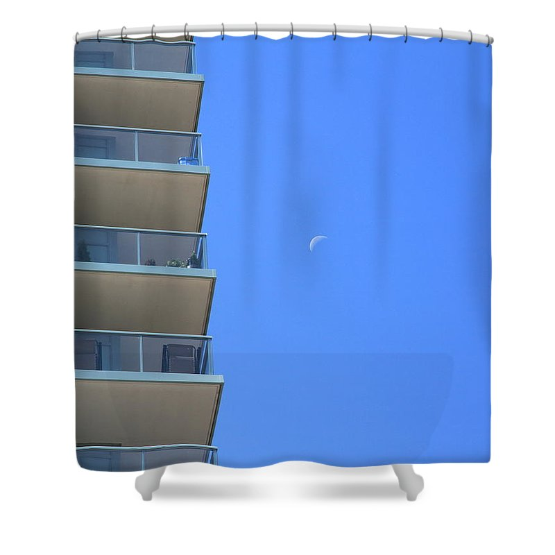 Architecture Shower Curtain featuring the photograph New Condo And Moon by Valentino Visentini