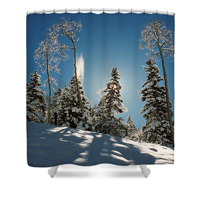 Red River Shower Curtain featuring the photograph New Fallen Snow by Ron Weathers