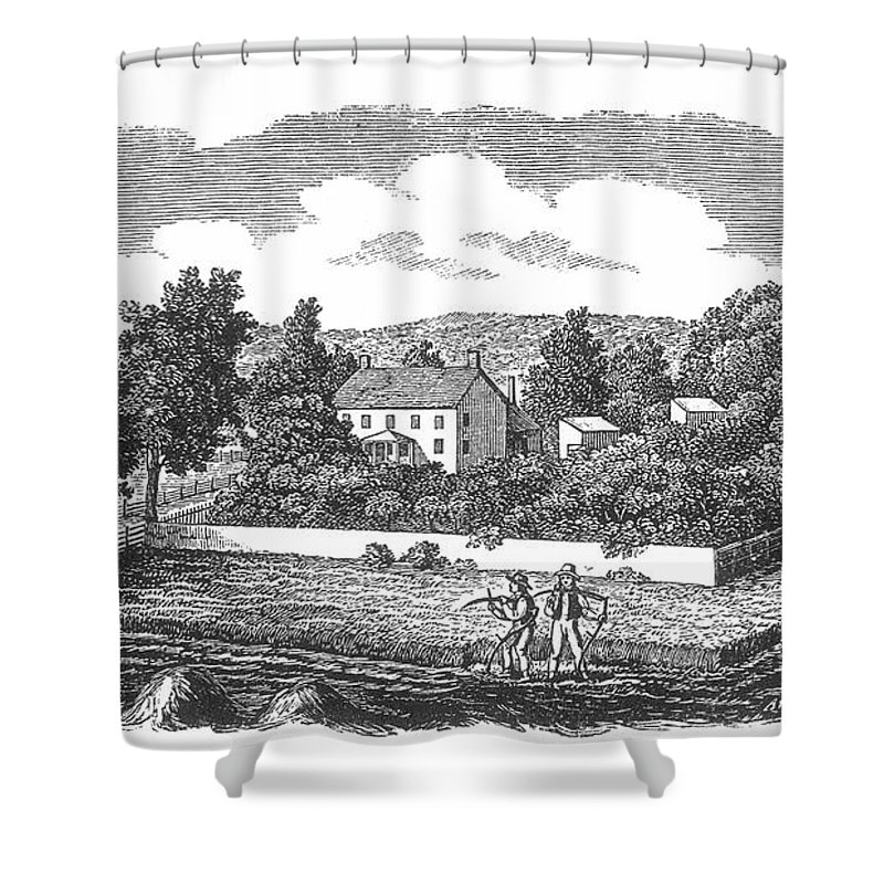 1810 Shower Curtain featuring the photograph New Jersey Farm, C1810 by Granger