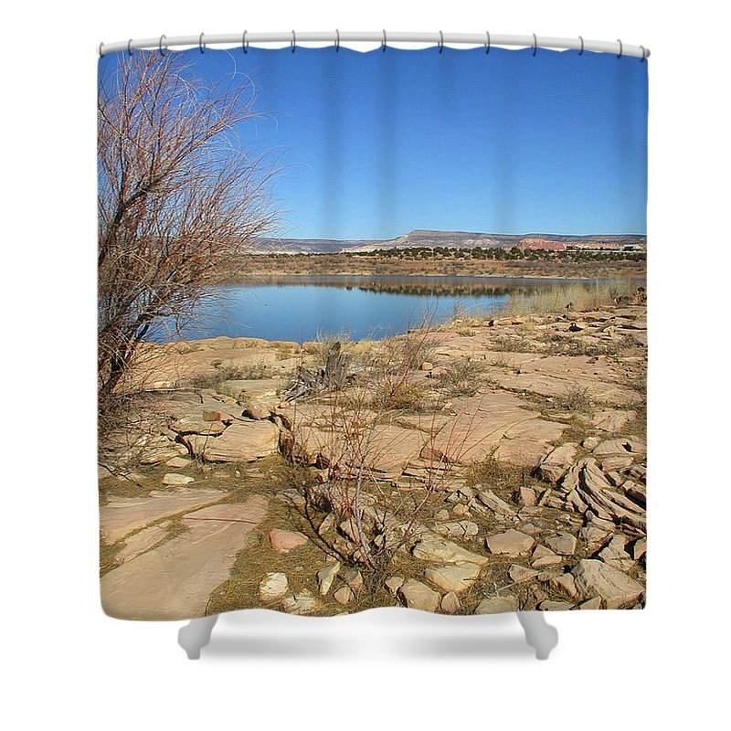 Lake Shower Curtain featuring the photograph New Mexico Series - Abiquiu Lake IIi by Kathleen Grace