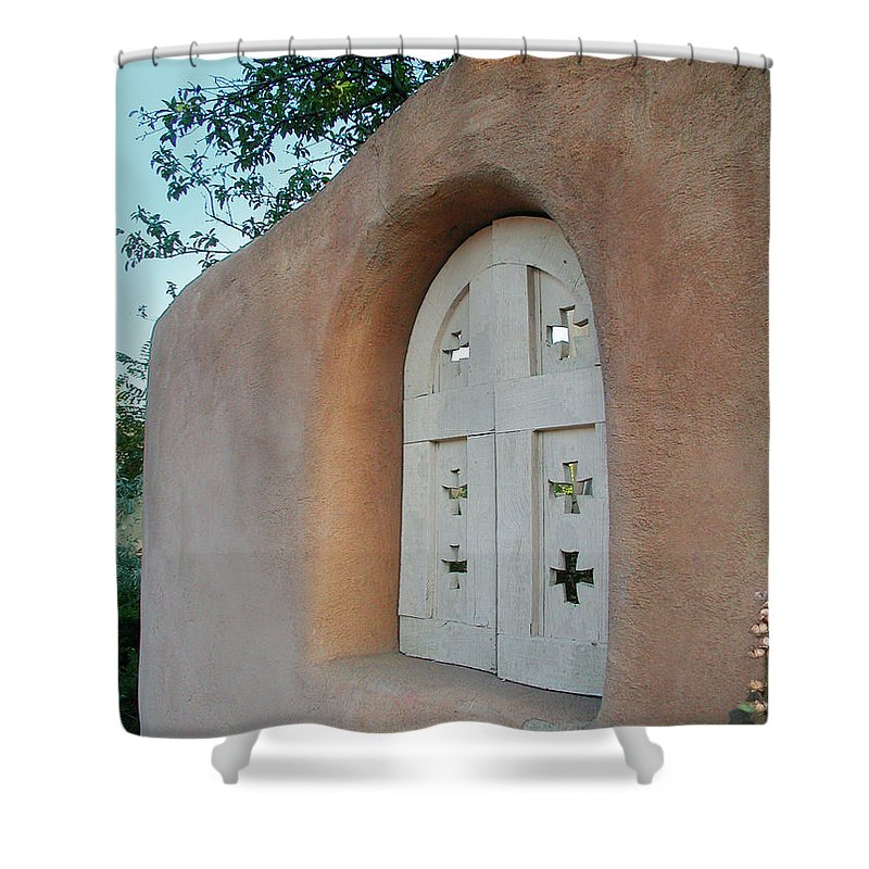 Adobe Shower Curtain featuring the photograph New Mexico Series - Adobe Arch by Kathleen Grace