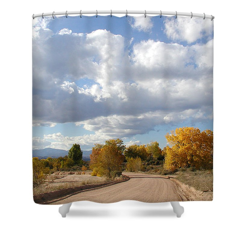 Landscape Shower Curtain featuring the photograph New Mexico Series - Autumn Clear by Kathleen Grace