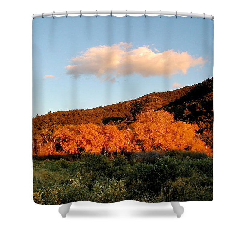 Landscape Shower Curtain featuring the photograph New Mexico Series - Cloud Over Autumn by Kathleen Grace