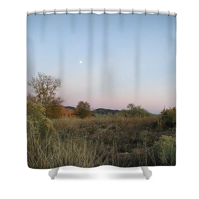 Landscape Shower Curtain featuring the photograph New Mexico Series - Moonrise by Kathleen Grace