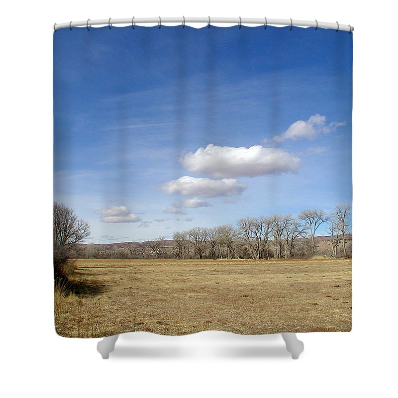 New Mexico Shower Curtain featuring the photograph New Mexico Series - The Long View by Kathleen Grace