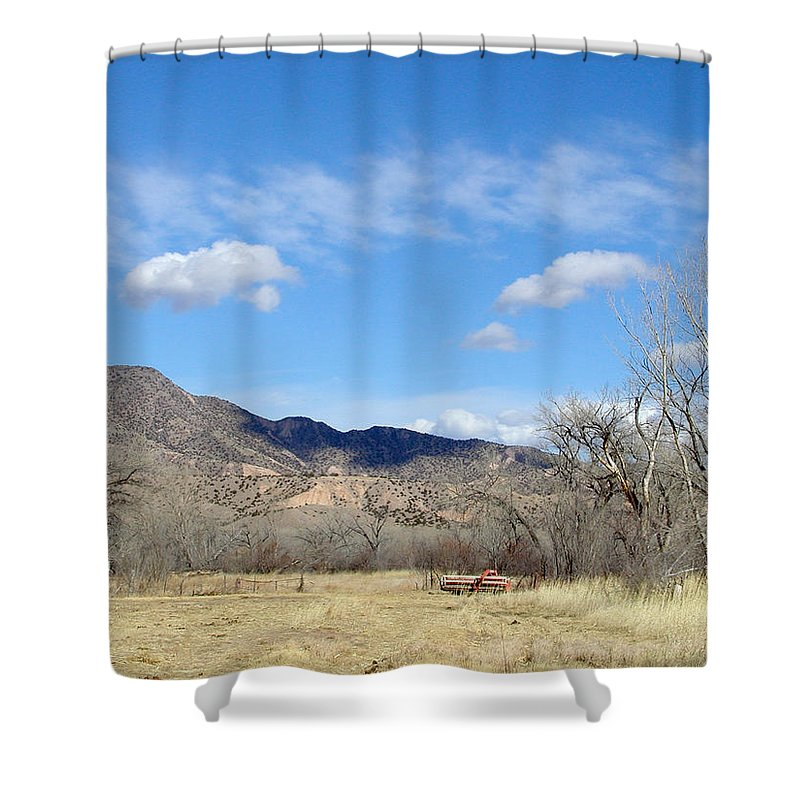 Landscape Shower Curtain featuring the photograph New Mexico Series - Winter Desert Beauty by Kathleen Grace