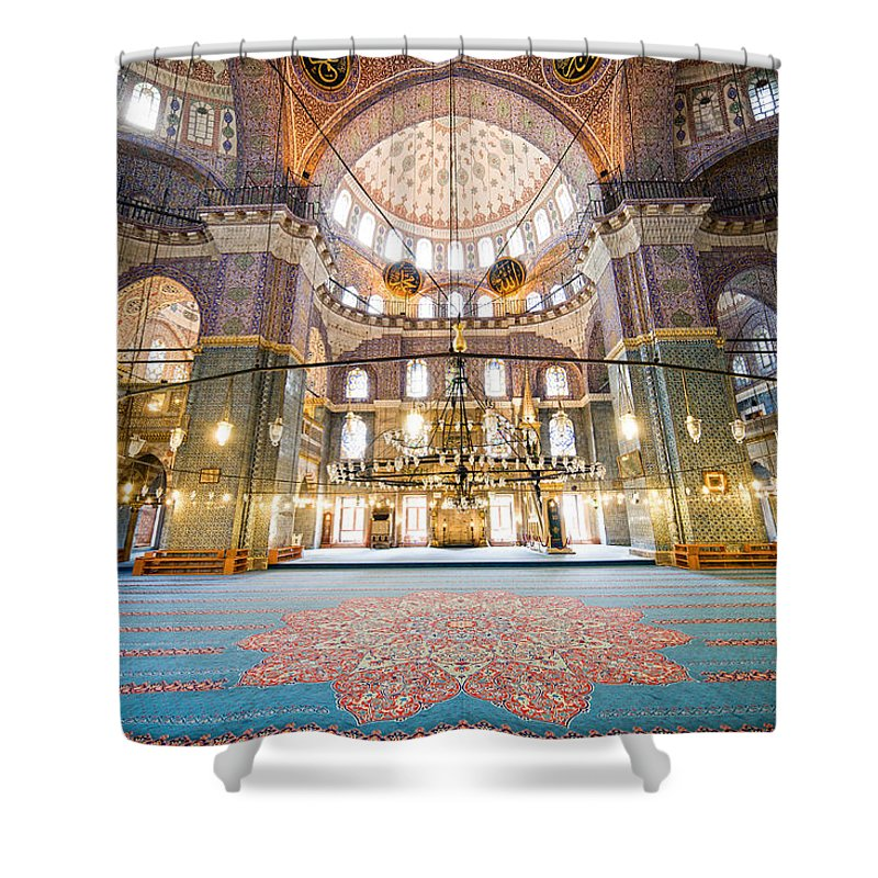 Arch Shower Curtain featuring the photograph New Mosque Interior In Istanbul by Artur Bogacki