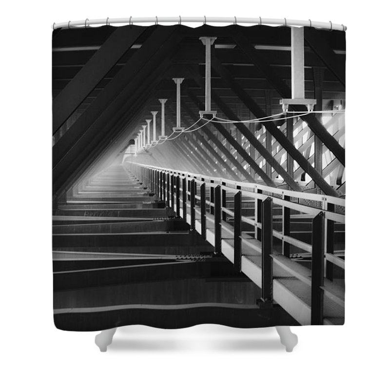 Bridgewalk Shower Curtain featuring the photograph New River Gorge Bridge Catwalk by Teresa Mucha