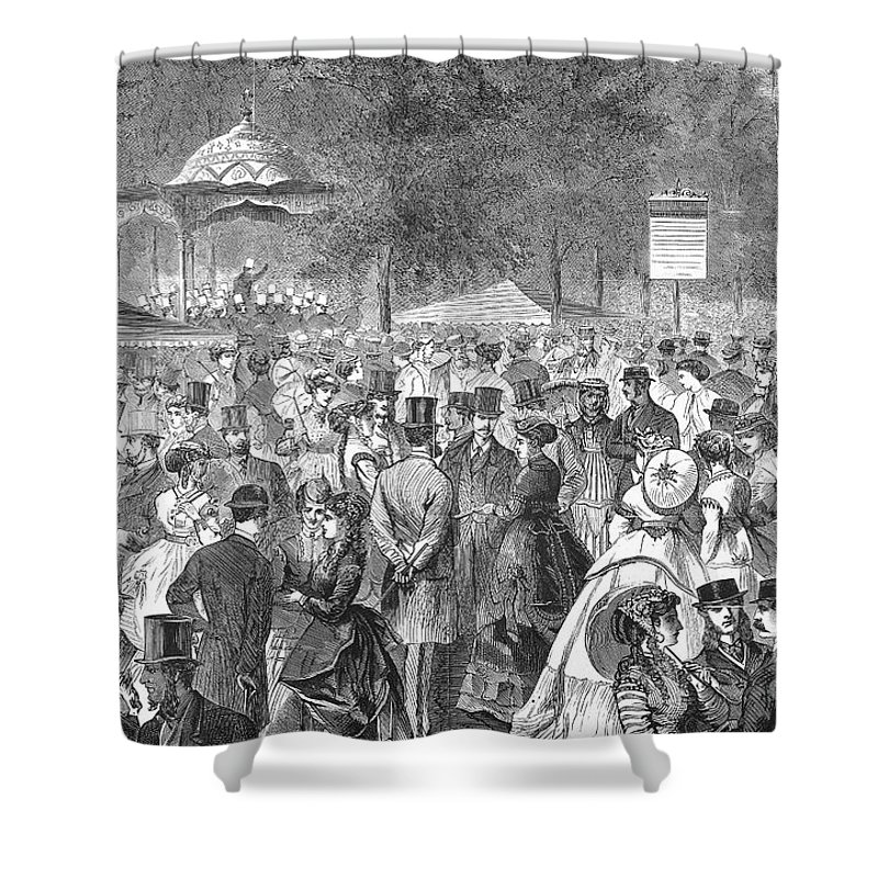 1869 Shower Curtain featuring the photograph New York: Bandstand, 1869 by Granger