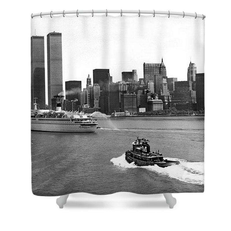 1970's Shower Curtain featuring the photograph New York City Harbor by Underwood Archives
