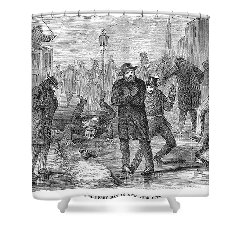 1868 Shower Curtain featuring the photograph New York City: Winter by Granger