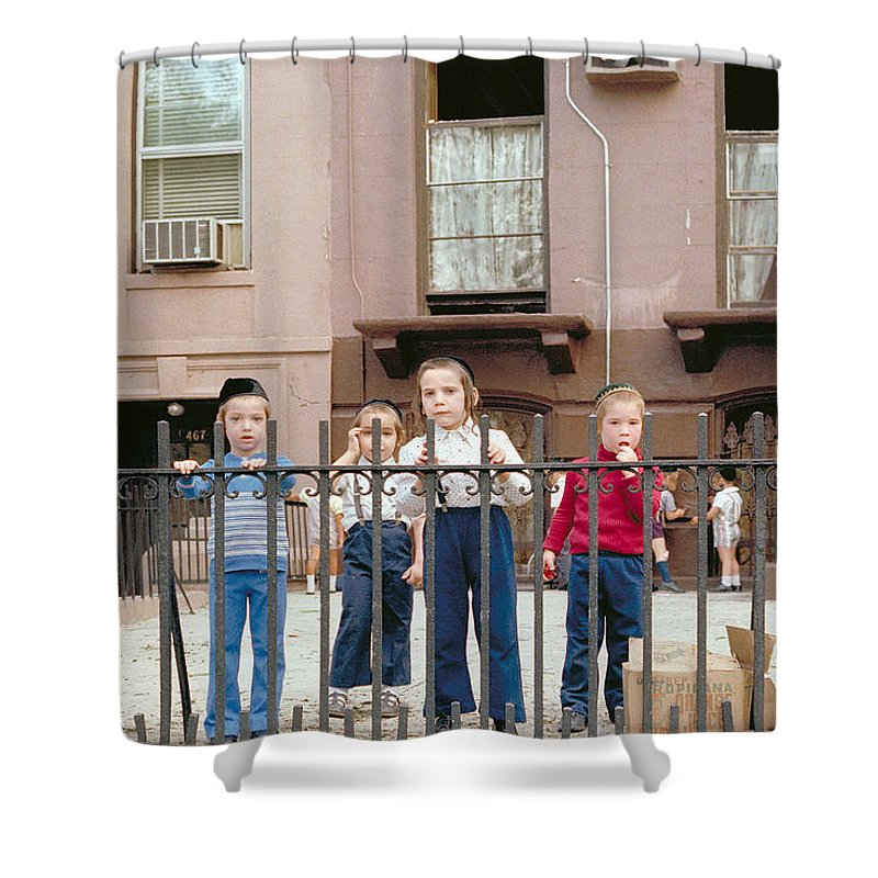 New York Shower Curtain featuring the photograph New York Kids 1975 by Mark Greenberg