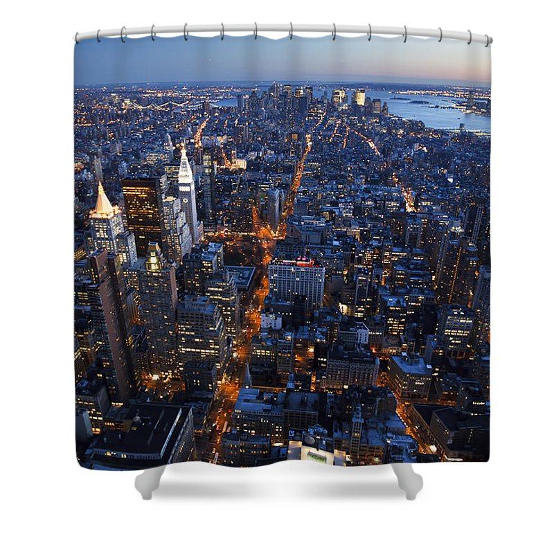 America Shower Curtain featuring the photograph New York Lights by MakenaStockMedia