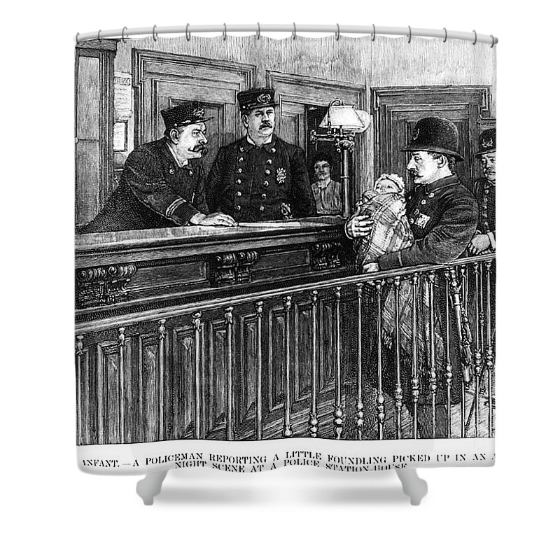 1892 Shower Curtain featuring the photograph New York: Police Station by Granger