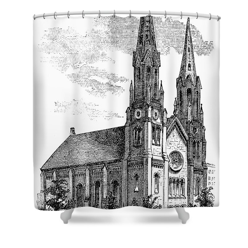 1857 Shower Curtain featuring the photograph New York: St. Georges by Granger