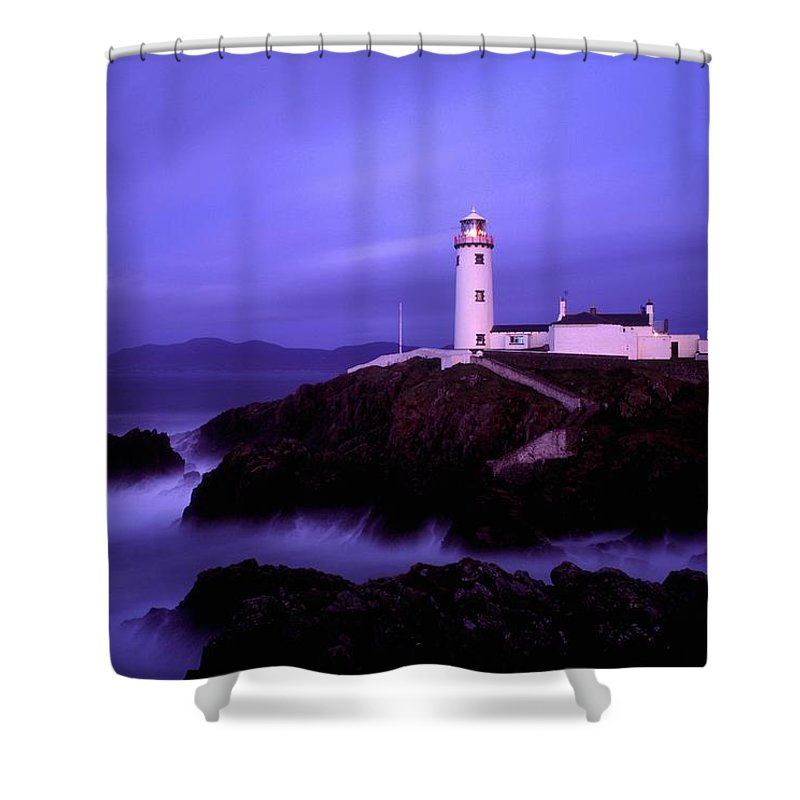 Blue Sky Shower Curtain featuring the photograph Newcastle, Co Down, Ireland Lighthouse by The Irish Image Collection