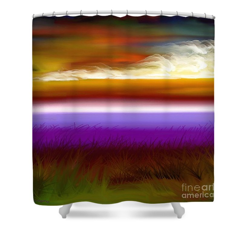 Sunset Shower Curtain featuring the digital art Night Falls by Greg Moores