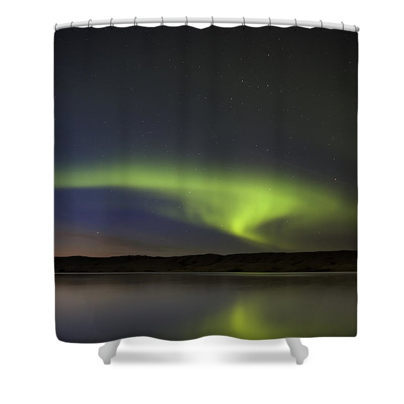 Sky Shower Curtain featuring the photograph Night Shot Northern Lights by Mark Duffy