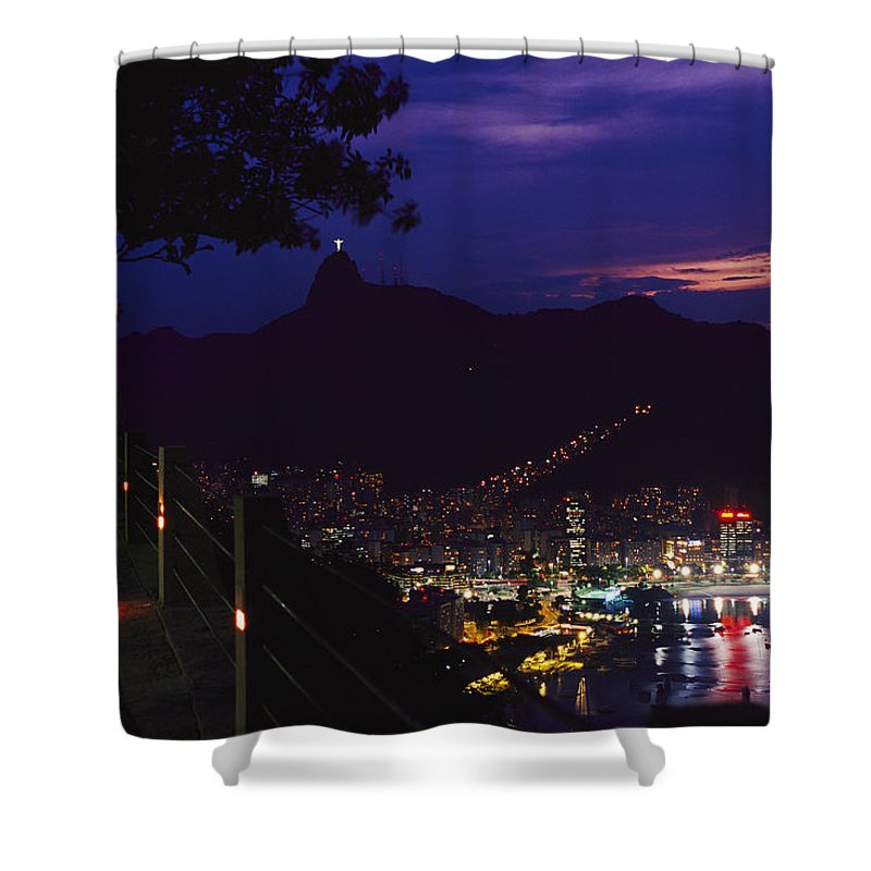South America Shower Curtain featuring the photograph Night View Of Rio De Janeiro From An by Richard Nowitz