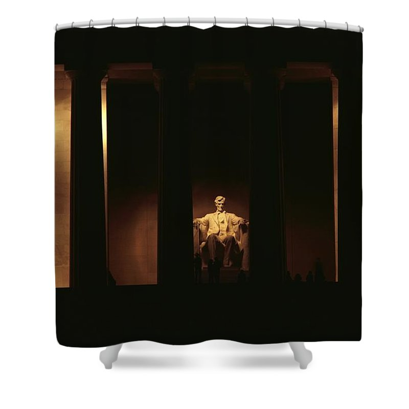 lincoln Memorial Shower Curtain featuring the photograph Nighttime View Of The Illuminated by Medford Taylor