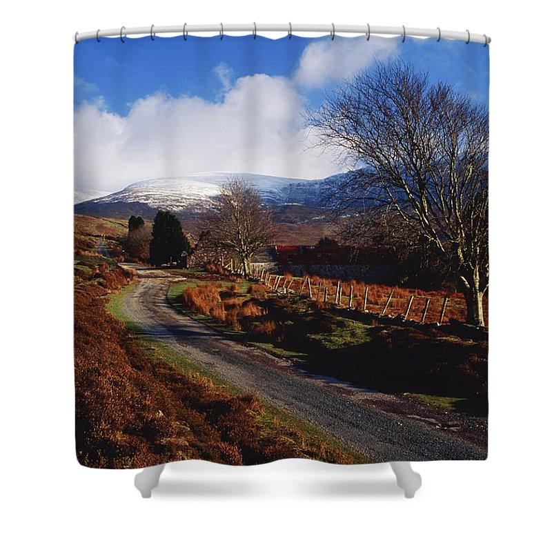 Country Road Shower Curtain featuring the photograph Nire Valley Drive, County Waterford by Richard Cummins