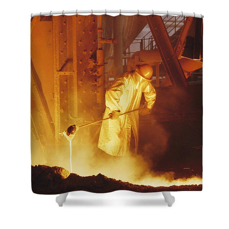 iron And Steel Industry And Production Shower Curtain featuring the photograph No Captions by Joe Scherschel