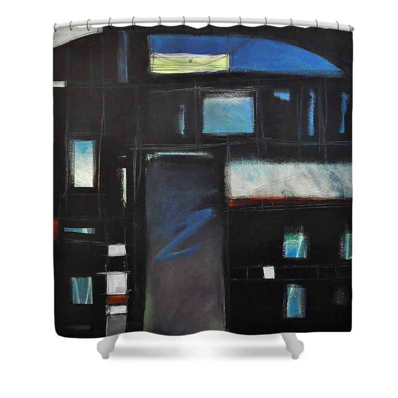Abstract Shower Curtain featuring the painting Nocturnal Fragments by Tim Nyberg