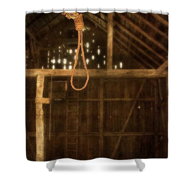 Barn Shower Curtain Featuring The Photograph Noose Hanging In An Old By Jill Battaglia