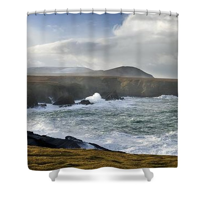 Outdoors Shower Curtain featuring the photograph North Mayo, Co Mayo, Ireland Sea Cliffs by Gareth McCormack