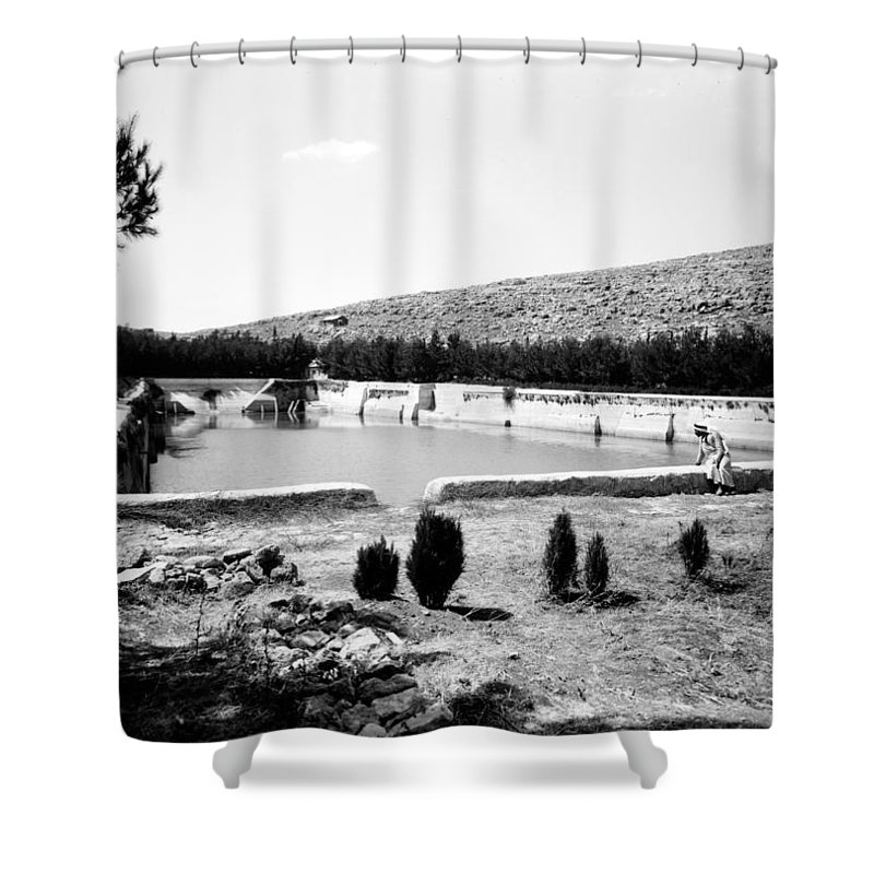 North Shower Curtain featuring the photograph North Pool In 1939 by Munir Alawi