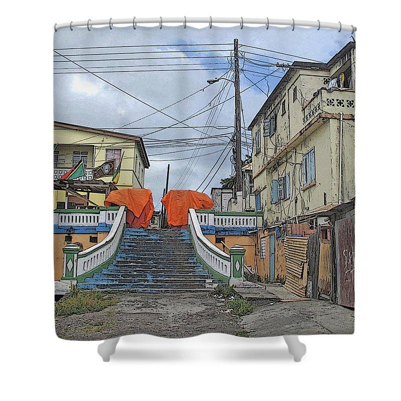 St Kitts Shower Curtain featuring the photograph Not The Spanish Steps by Ian MacDonald