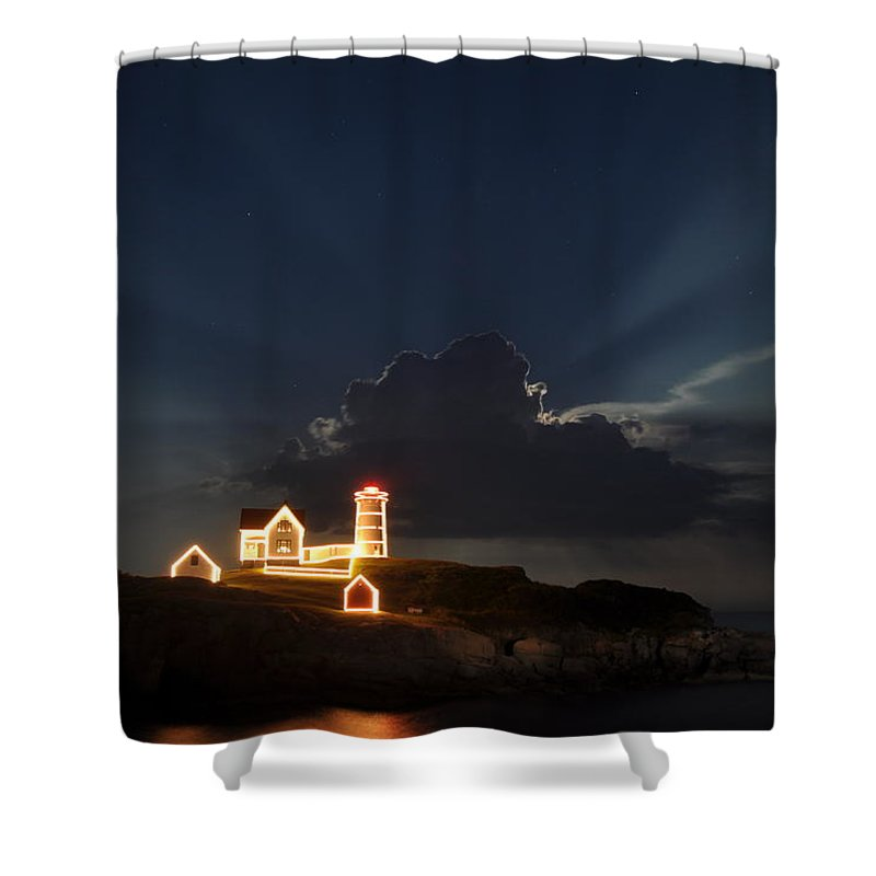 Nubble Shower Curtain featuring the photograph Nubble Lights by Rick Frost