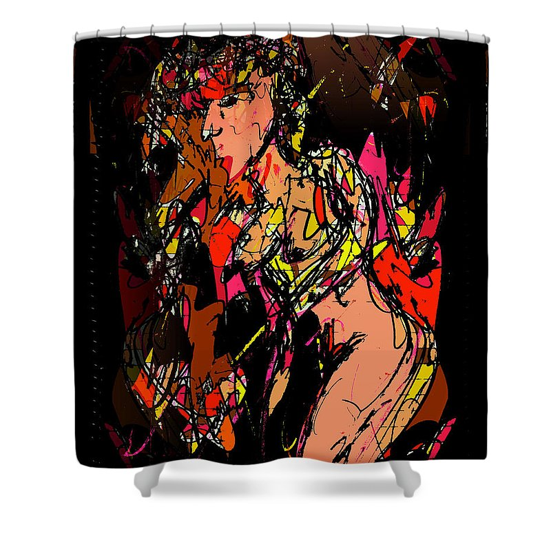 Nude Shower Curtain featuring the mixed media Nude 1 by Natalie Holland