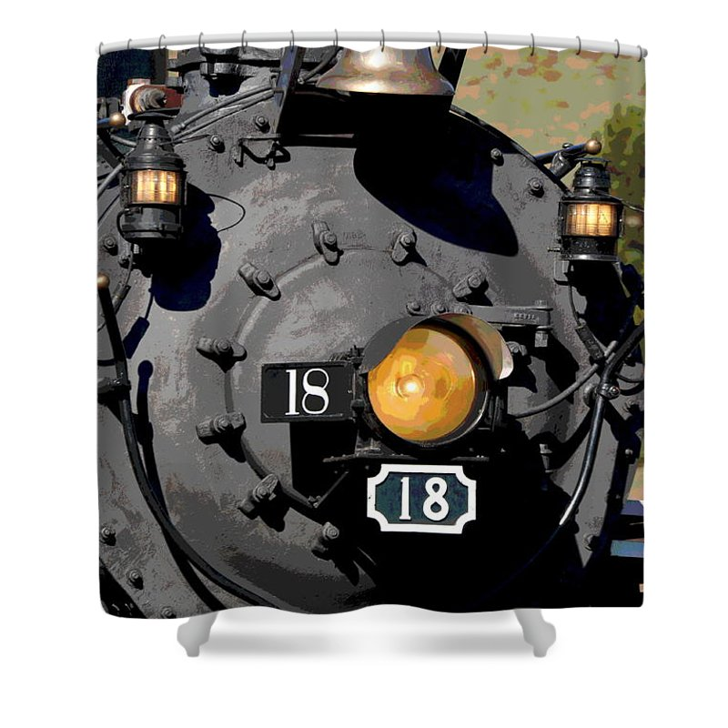 Train Shower Curtain featuring the photograph Number 18 by Ron Weathers