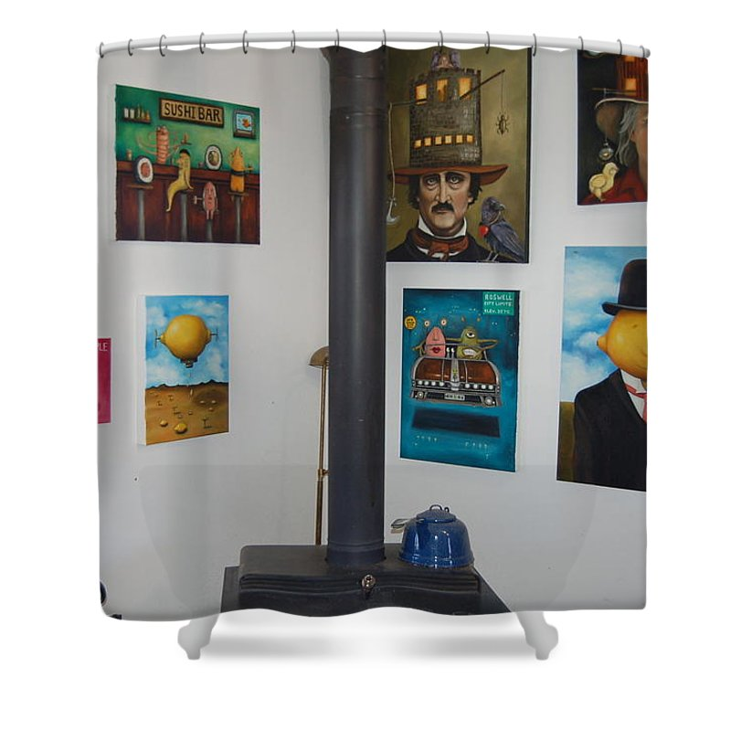 Home Shower Curtain featuring the painting Nut House 2 by Leah Saulnier The Painting Maniac