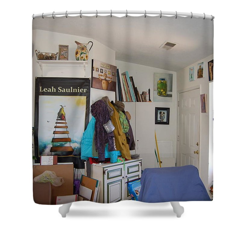Home Shower Curtain featuring the painting Nut House 4 by Leah Saulnier The Painting Maniac
