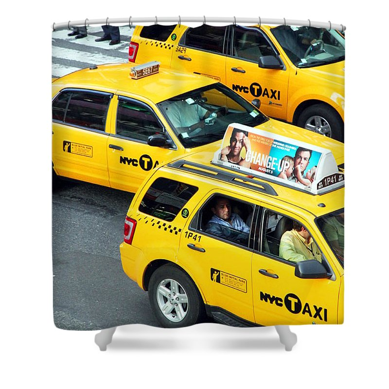 New York Shower Curtain featuring the photograph Nyc Yellow Cabs by Valentino Visentini