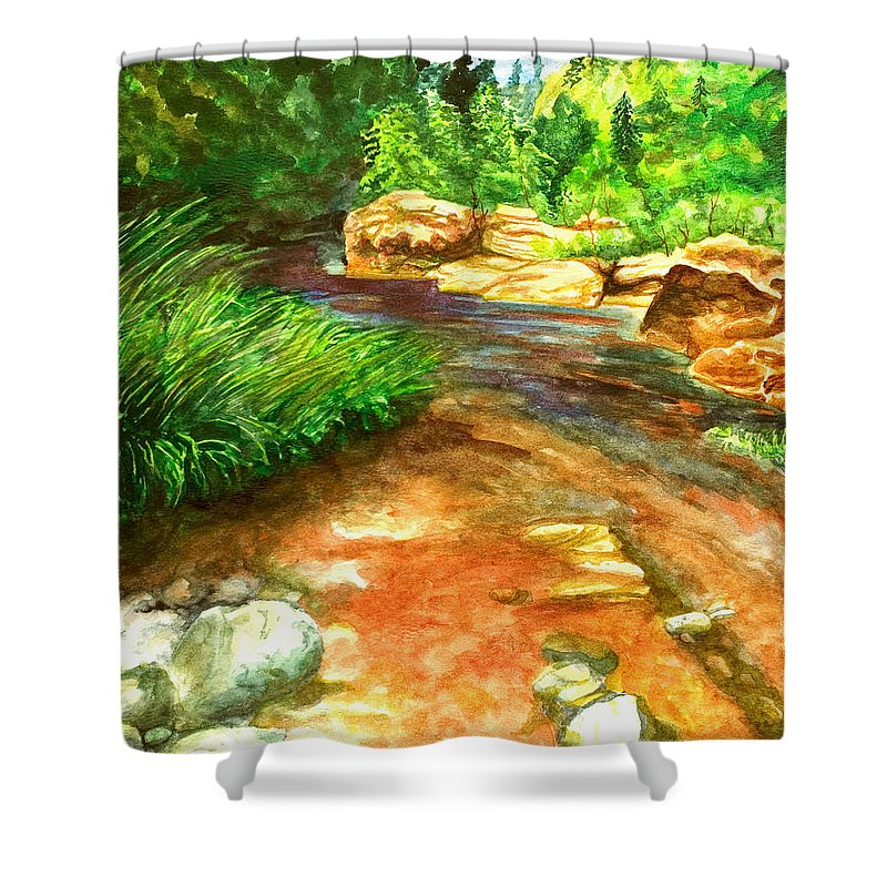 Arizona Shower Curtain featuring the painting Oak Creek Red by Eric Samuelson