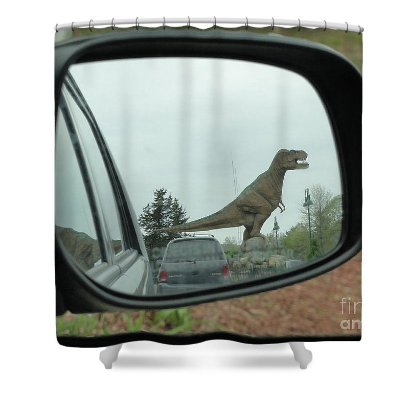 Dino Shower Curtain Featuring The Photograph Objects In Mirror May Be Closer Than They Appear By