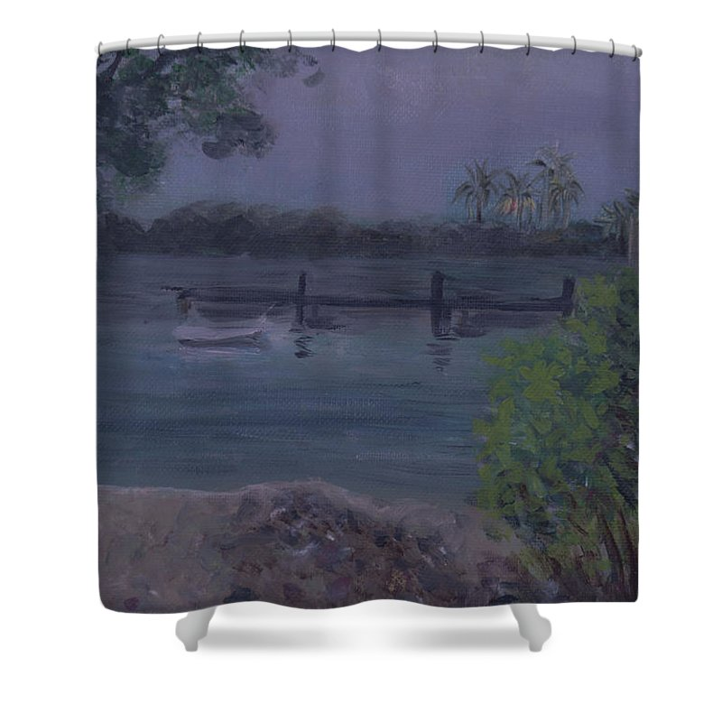 Ocean Shower Curtain featuring the painting Ocean Reef Park Rainy Day by Donna Walsh