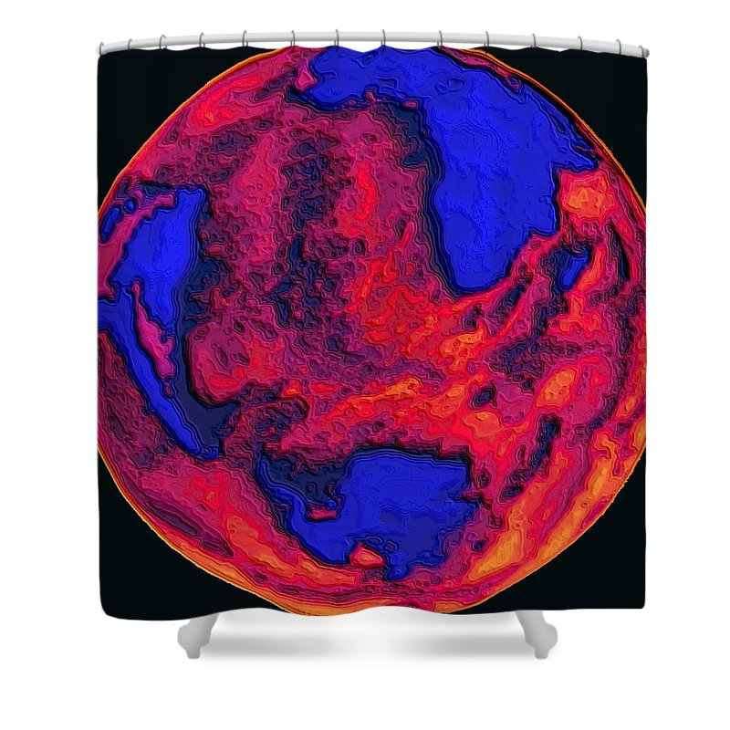 World Shower Curtain featuring the digital art Oceans Of Fire by Alec Drake