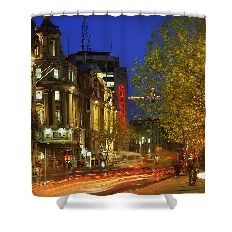 Automobile Shower Curtain featuring the photograph Oconnell Street Bridge, Dublin, Co by The Irish Image Collection