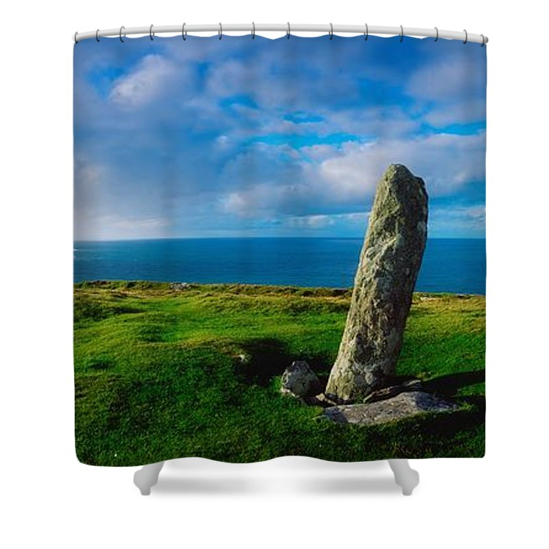 Architectural Heritage Shower Curtain featuring the photograph Ogham Stone, Dunmore Head, Dingle by The Irish Image Collection